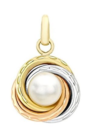 Women Necklaces - Carissima Gold 9 ct 3 Colour Gold Diamond Cut Ring and Pearl Pendant