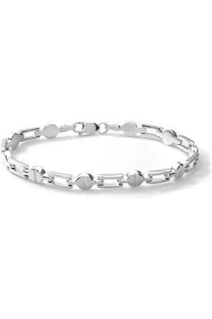 Women Bracelets - Sterling Bar and Bean Link Bracelet of 18.4 cm