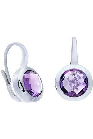 Women Earrings - Rhodium Lever Back Stone Earrings