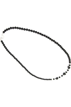 Earth Skinny Heart Necklace in Onyx of Length 46cm