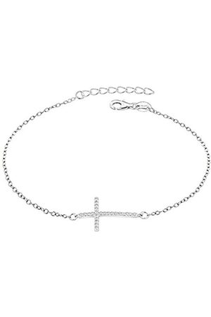 Tuscany Silver Sterling Rhodium Plated Cubic Zirconia Cross Bracelet of 19cm/7.5""