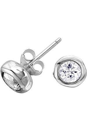 Women Earrings - Dewdrop Sterling 5mm White Topaz Beaten Nugget Stud Earrings