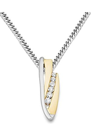 Miore 925 Silver and Part 9ct Yellow Gold Zirconia Pendant on 45cm Silver Curb Chain MH9053SN