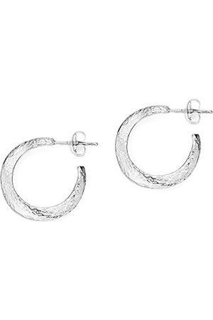 Women Earrings - Nomad Sterling Beaten Wave Hoop Earrings of Length 2cm