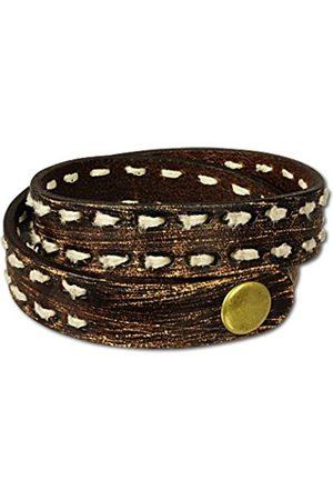 Men Bracelets - Men's Bracelet Leather Jeans style / Grey Metal LAP511B