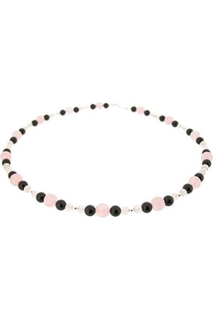Earth Rose Quartz and Black Onyx Beaded Necklace at 45cm in Length