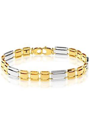 Men Bracelets - Sterling and Plated Alternate Rectangle Bar Links Bracelet of Length 20.5 cm