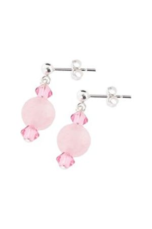 Women Bracelets - Rose Quartz and Swarovski Crystal Beaded Bracelet at 2.5cm in Length