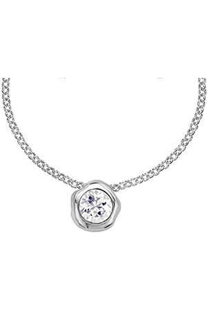 Women Necklaces - Dewdrop 6mm White Topaz Beaten Nugget Pendant on Trace Chain of Length 46cm