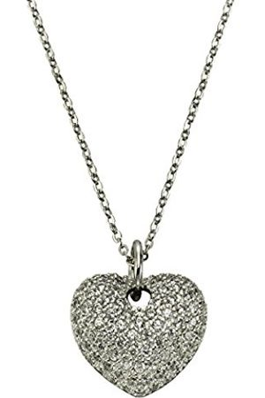 Women Necklaces - Women's Necklace with Pendant 925 Rhodium-Plated Round Cut White Zirconia - 45.0 CM - 500244692