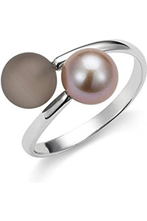 Women Rings - Gelato Women's Ring 925 Sterling Silver Rhodium-Plated Quartz Brown Freshwater Pearl Size 54 (17.2) Adjustable AGR8–54