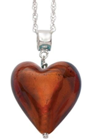 Women Necklaces - Murano 20 mm Heart with Sterling Silver Chain of Length 45.0 cm