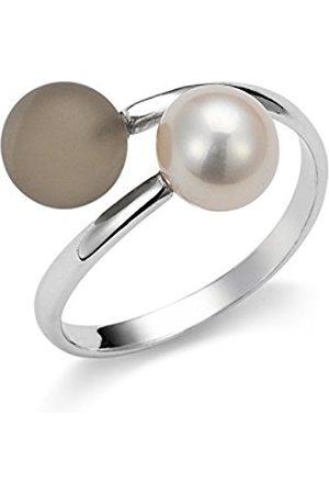 Women Rings - Gelato Women's Ring 925 Sterling Silver Rhodium-Plated Quartz Brown Freshwater Pearl Size 54 (17.2) Adjustable AGR5–54