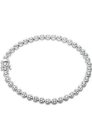 Women Bracelets - Naava Women's Round Brilliant 1.00 ct Diamond 9 ct Gold Tennis Bracelet of 19 cm