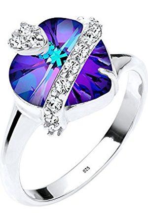 Women Rings - Women 925 Sterling Swarovski Crystals Heart Ring - Size P
