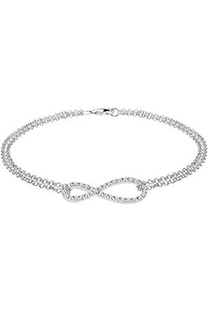 Elli Women Genuine Jewellery Wristwear Link & Chain Bracelets Infinity 925 Sterling Silver Swarovski Crystals Length 18 cm
