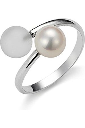 Women Rings - Gelato Women's Ring 925 Rhodium-Plated Silver with Freshwater-Cultured Pearl Size 58 (18.5) Adjustable AGR3–Size 58