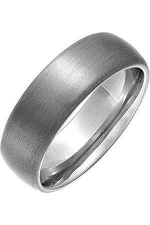 Women Rings - THEIA Titanium Matt Finish Court Shape 7mm Ring - Size K