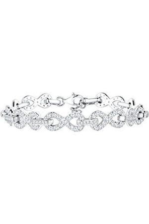 Elli PREMIUM Women's Bracelet Infinity Kristallarmband 925 Cushion Brilliant Cut Cubic Zirconia in White - 0203581615_18 18 CM