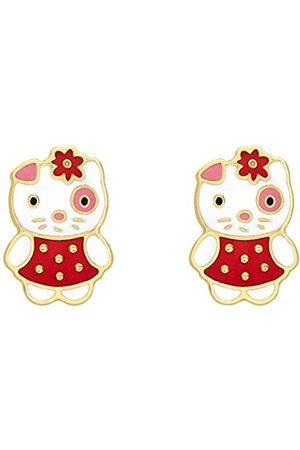 Women Earrings - Carissima Gold 9ct Gold Red and White Enamel Kitten Stud Earrings