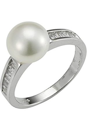 Women Rings - Amore 2015 Women's Ring 925 Rhodium-Plated Silver with Freshwater-Cultured Pearl-A60