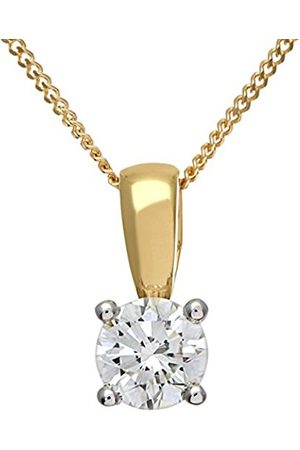 Women Necklaces - Naava Women's Round Brilliant 0.50ct I/I1 Certified Diamonds 9 ct Solitaire Pendant with Chain of 46 cm