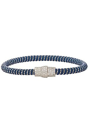 Women Bracelets - Blue Leather Bracelet with Sterling Beads and Pave Magnetic Clasp of 18.5cm