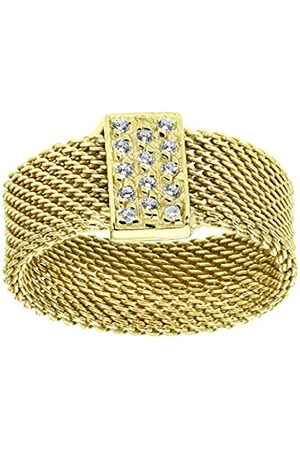 Women Rings - Yellow Plated Silver Mesh Ring with Cubic Zirconia Bar - Size P