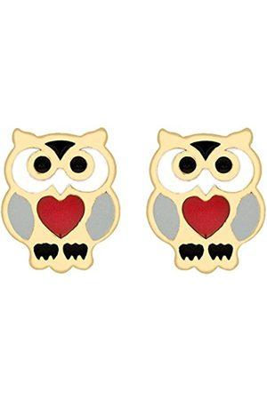 Women Earrings - Carissima Gold 9ct Gold Red Enamel Heart Owl Stud Earrings