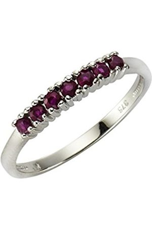 Women Rings - Fascination by Ellen K. Women's Ring 375 Gold Rhodium-Plated Round Cut Ruby Red Size 52 (16.6) - 360370200–5-052