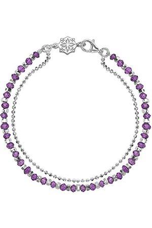 Women Bracelets - Orissa Sterling Silver Faceted Amethyst Bead and Chain Bracelet of Length 18.5cm