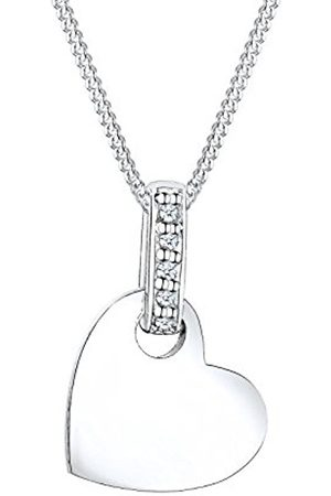 DIAMORE Women's 925 Sterling Silver Gold Plated Xilion Cut 0.02 ct Diamond Heart Necklace of Length 45 cm