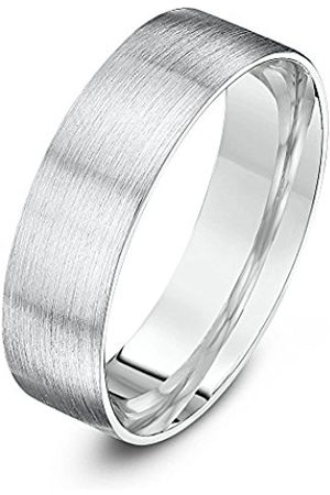 Women Rings - THEIA Sterling Super Heavy Flat Court Shape Matted 6mm Wedding Ring - Size R