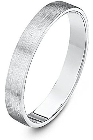 Women Rings - THEIA Sterling Super Heavy Flat Court Shape Matted 3mm Wedding Ring - Size T