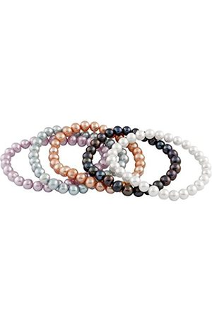 Women Bracelets - Set of 5 Multi-Coloured Freshwater Pearl Elastic Bracelet of Length 18 cm