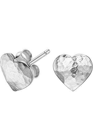 Women Earrings - Nomad Sterling Beaten Heart Stud Earrings