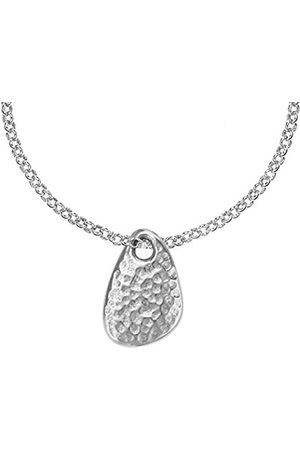 Women Necklaces - Nomad Sterling Beaten Pebble Pendant on Belcher Chain of 46cm
