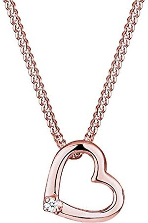 Women Necklaces - DIAMORE Women's Necklace Heart 925 Sterling Silver Plated Diamond White 0.02ct