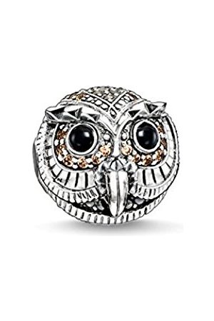 Women Jewellery - Thomas Sabo Women-Bead Owl Karma Beads 925 Sterling Silver blackened Zirconia white brown black K0178-650-7