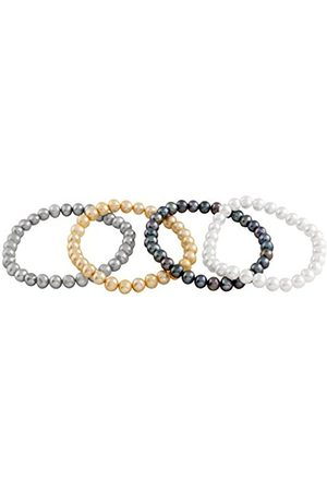 Women Bracelets - Set of 4 Multi-Coloured Freshwater Pearl Elastic Bracelet of Length 18 cm