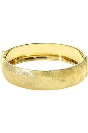 Women Bracelets - Yellow Plated Silver 1.7 cm Wide Brushed Dome Bangle