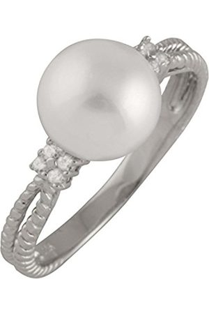 Women Rings - Sterling Silver Freshwater Pearl and Cubic Zirconia Ring - Size L