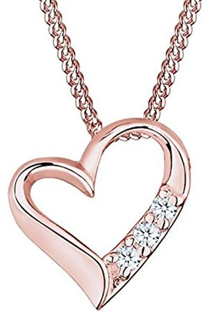 DIAMORE Women's 925 Sterling Silver Xilion Cut Diamond Heart Necklace Length of 45 cm