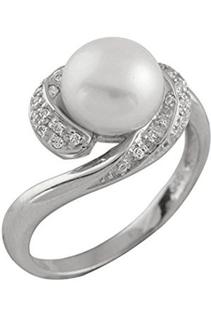 Women Rings - Freshwater Pearl and Cubic Zirconia Sterling Silver Ring - Size L