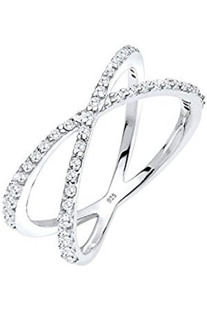 Women Rings - Women's 925 Sterling Silver Zirconia Crossed Ring - Size M 608691214