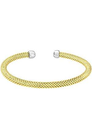 Women Bracelets - Silver Mesh Cuff Yellow Plated Bangle