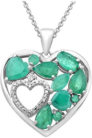 Women Necklaces - Sterling Silver Heart shaped Diamond and Gemstone Pendant