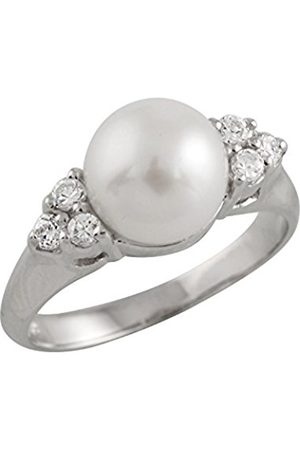 Women Rings - Freshwater Pearl and Cubic Zirconia Sterling Silver Ring - Size N