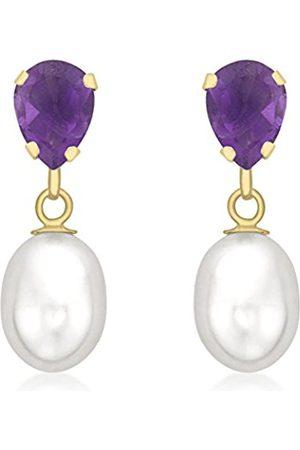 Women Earrings - Carissima Gold 9ct Gold Amethyst and Pearl Teardrop Earrings