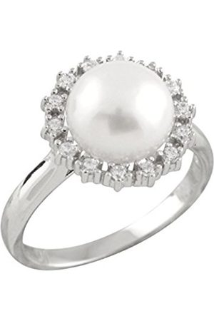 Women Rings - Sterling Silver Freshwater Pearl and Cubic Zirconia Sterling Silver Halo Ring - Size N